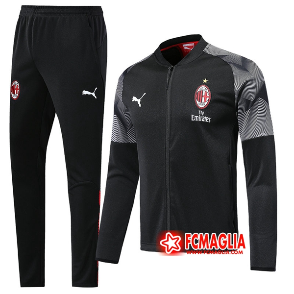 Nuovi Tuta Allenamento AC Milan Nero 2019/20 - Giacca Pantaloni ...
